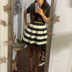 Black and White Bandage Skater Skirt